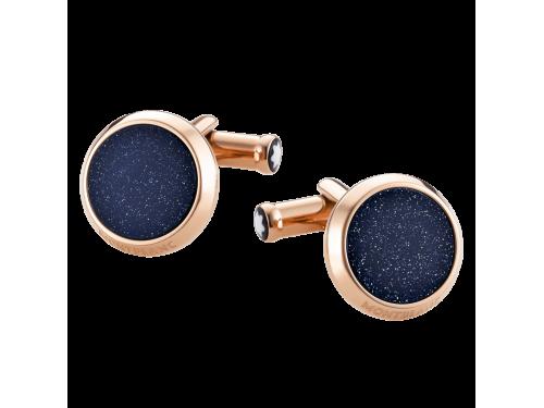 Gemelli Montblanc in acciaio pvd oro rosso e eliolite blu