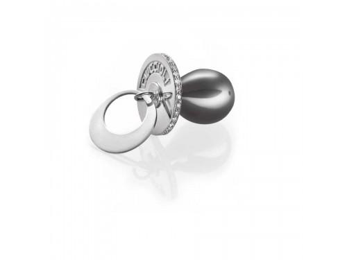 I Ciuccioli Gioielli ciondolo pendente ciuccio in argento pvc nero con zirconi brillanti e collana da 55 cm