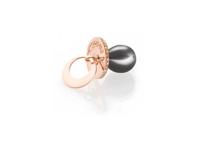 I Ciuccioli Gioielli ciondolo pendente ciuccio piccolo in argento 925 pvd rosa e nero con zirconi e collana da 55 cm