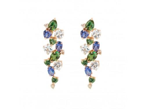 Orecchini Malafimmina Menta in Oro Giallo con Topazi Multicolor e Diamanti Brown