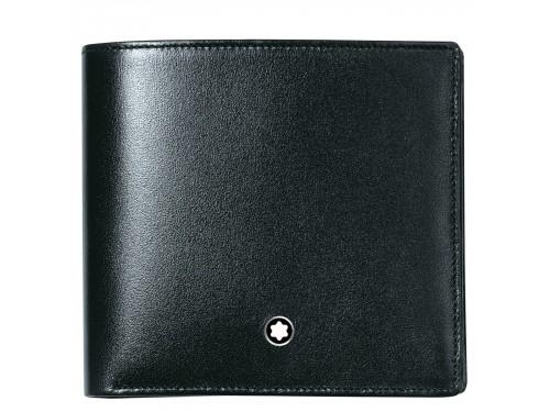 Portafoglio Montblanc Meisterstück 4 scomparti con portamonete in pelle nera lucida