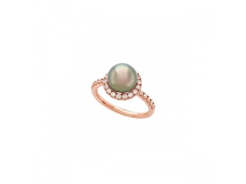 Anello Mimì Happy in Oro Rosa e Perla Nera e Diamanti