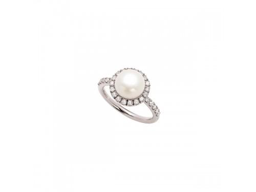 Anello Mimì Happy in Oro Bianco con Perla Bianca e Diamanti
