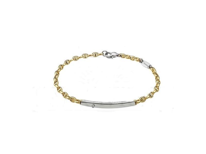 Bracciale da Uomo Zancan Insignia in Oro Giallo con Piastrina in Oro Bianco con Diamante