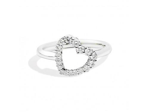 Anello Recarlo in Oro Bianco con Cuore di Diamanti