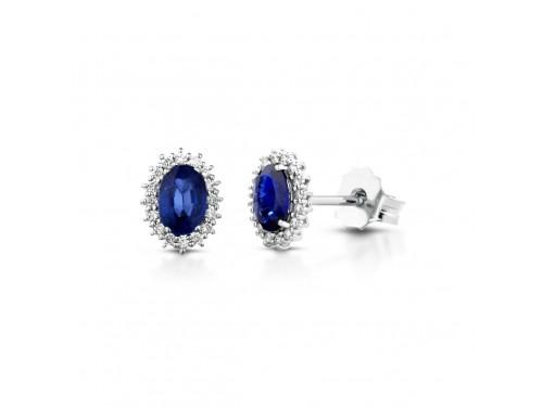 Orecchini Coscia Le Lune Diamonds in Oro Bianco con Zaffiri Blu e Diamanti