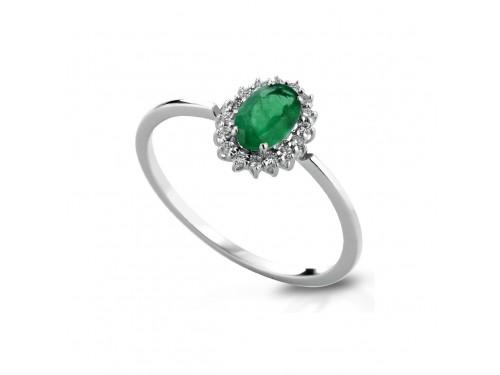 Anello Coscia Le Lune Diamonds in Oro Bianco con Diamanti Bianchi e Smeraldo