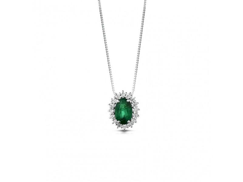 Pendente Coscia Le Lune Diamonds in Oro Bianco con Diamanti Bianchi e Smeraldo
