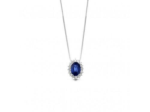 Pendente Coscia Le Lune Diamonds in Oro Bianco con Diamanti Bianchi e Zaffiro Blu