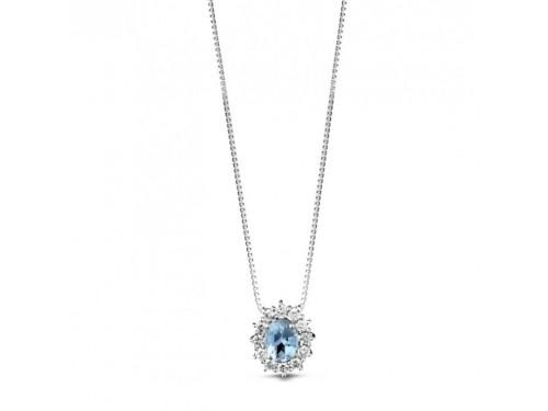 Pendente Coscia Le Lune Diamonds in Oro Bianco con Diamanti Bianchi e Aquamarina