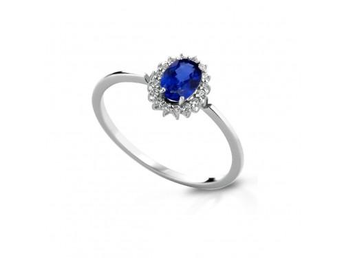 Anello Coscia Le Lune Diamonds in Oro Bianco con Diamanti Bianchi e Zaffiro Blu