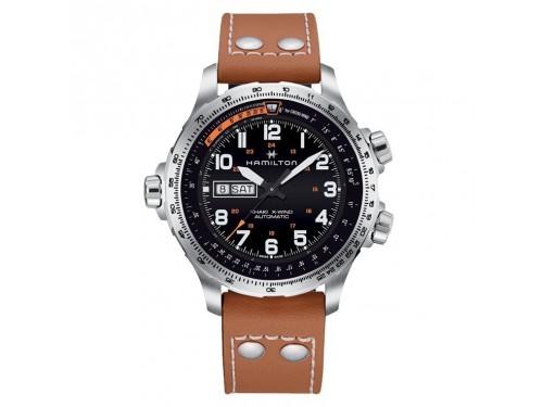 Cronografo automatico Hamilton Khaki Aviation X-Wind cinturino in pelle