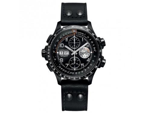 Cronografo automatico Hamilton Khaki X-Wind in acciaio PVD nero