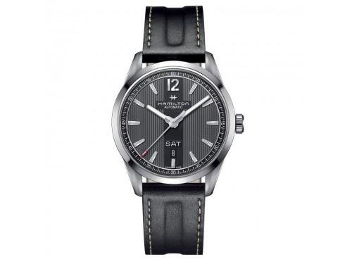 Orologio automatico Hamilton Broadway Day Date quadrante nero bracciale in pelle