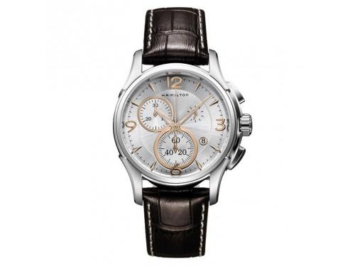 Cronografo al quarzo Hamilton Jazzmaster Seaview quadrante grigio bracciale marrone