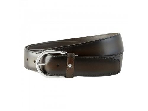 Cintura Montblanc in pelle marrone sfumata con fibbia ad ardiglione finitura palladio
