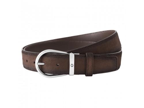 Cintura Montblanc casual cut to-size in pelle marrone scamosciata