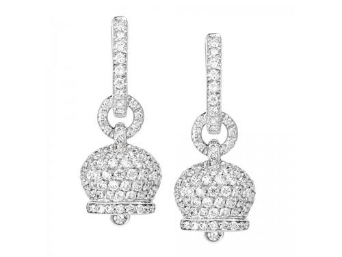 Le Campanelle Chantecler Orecchini piccoli in oro bianco e pavé di diamanti