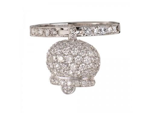 Le Campanelle Chantecler Anello in oro bianco e pavé di diamanti con ciondolo campanella