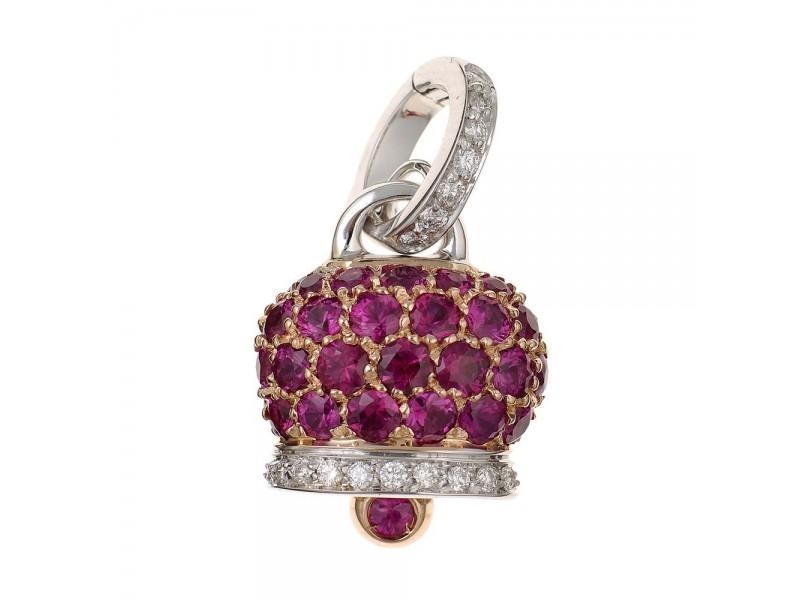 Le Campanelle Chantecler Ciondolo piccolo in oro rosa e bianco, diamanti e pavé di rubini