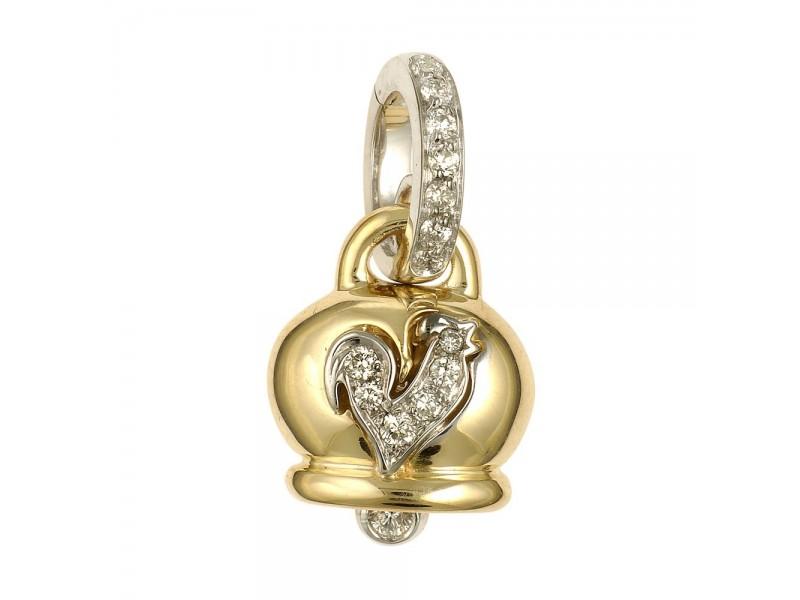 Le Campanelle Chantecler Ciondolo piccolo in oro giallo, diamanti e gallo in pavé di diamanti