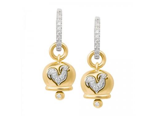 Le Campanelle Chantecler Mono orecchino in oro giallo, diamanti e gallo in pavé di diamanti