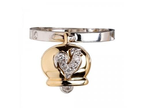 Le Campanelle Chantecler anello in oro giallo e bianco, diamanti e gallo in pavé di diamanti