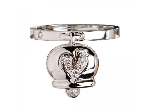 Le Campanelle Chantecler Anello in oro bianco, diamanti e gallo in pavé di diamanti