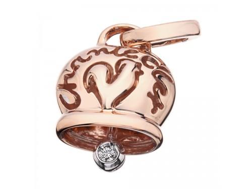 Le Campanelle Chantecler Ciondolo medio in oro rosa e un diamante nel batacchio