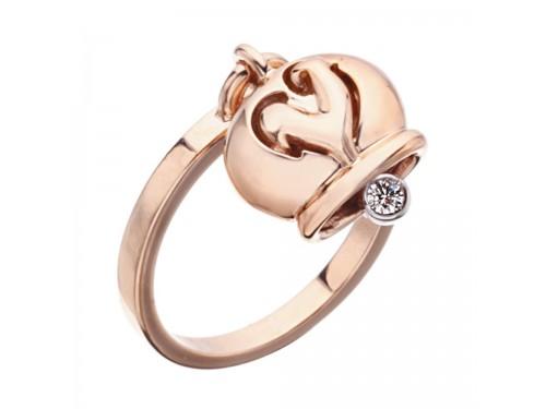 Le Campanelle Chantecler Anello in oro rosa e un diamante nel batacchio