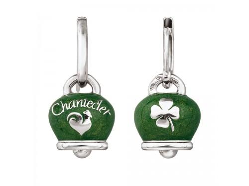 Orecchini Chantecler Campanella in argento e smalto verde perlato