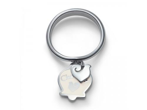 Anello Chantecler Et Voilà con campanella e gallo in argento e smalto bianco