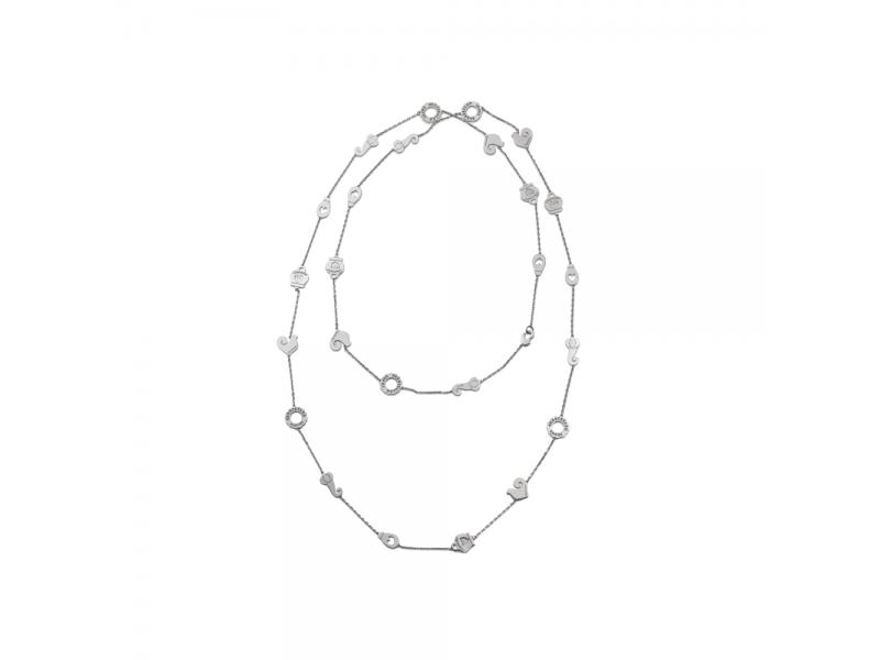 Collana lunga Chantecler in argento con galletto campanella logo e cornetto portafortuna