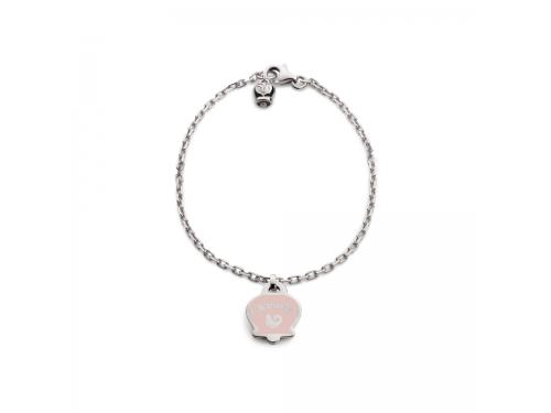 Bracciale forzatina Chantecler in argento con campanella in smalto rosa