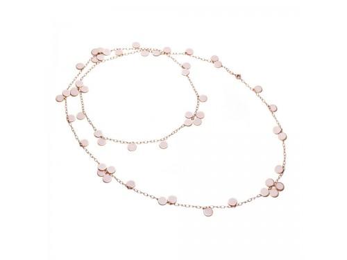 Collana Chantecler Paillettes fiore in oro rosa e smalto rosa cipria