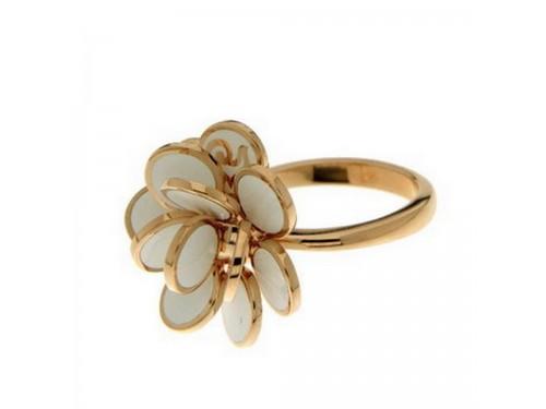 Anello Chantecler fiore di Paillettes mini in oro rosa e smalto bianco