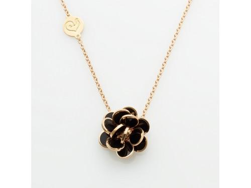 Ciondolo Chantecler fiore di Paillettes mini in oro rosa e smalto nero