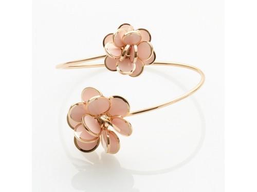 Bracciale contrariè Chantecler fiore di Paillettes in oro rosa e smalto rosa