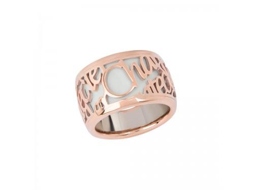 Anello Chantecler Pour Parler a fascia larga in oro rosa e smalto bianco