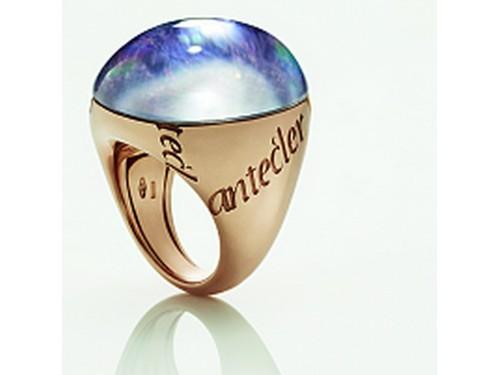 Anello Chantecler Pour Parler in oro rosa charoite e cristallo di rocca
