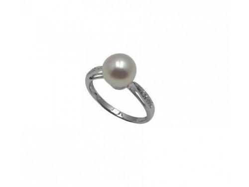 Le Lune Anello in oro bianco con perle e diamanti Coscia Gioielli