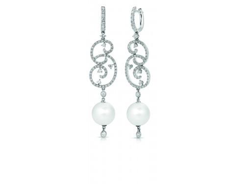 Couture Diadema Orecchini in oro bianco con perle e diamanti Coscia Gioielli