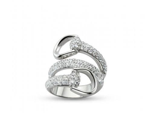 Gucci Anello Horsebit in oro bianco e diamanti