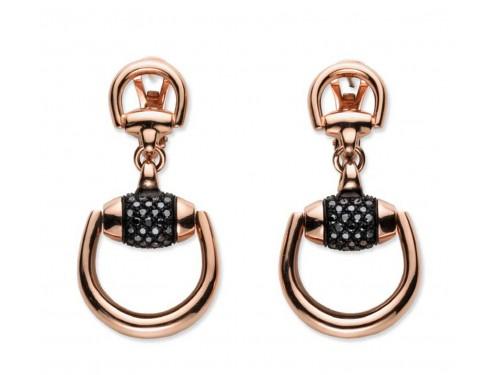 Orecchini Pendenti Horsebit in Oro Rosa con Diamanti Neri e Corindone Nero