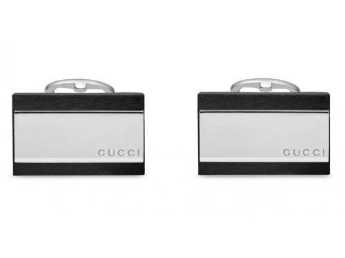 Gucci Silver gemelli in argento rodiato e pelle nera