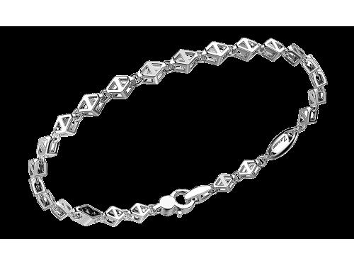 Zancan Bracciale Uomo Insignia in argento e spinelli neri maglia a rombi