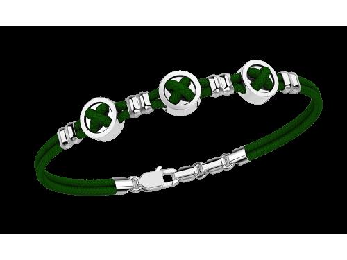Zancan Bracciale Uomo Taka Boton in argento e Kevlar verde scuro