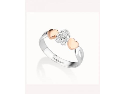 Anello i girocuore Le Bebé Gioielli Femminuccia in oro bianco e brillanti cuori in oro rosa