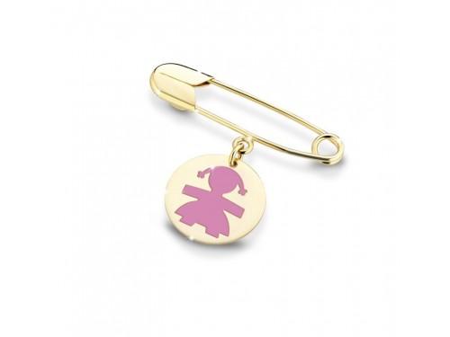 Le Bebé primegioie Spilla da balia in oro giallo con femminuccia in smalto rosa