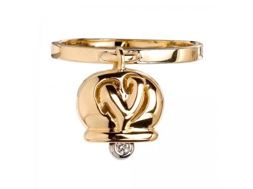 Le Campanelle Chantecler Anello in oro giallo con diamante nel batacchio